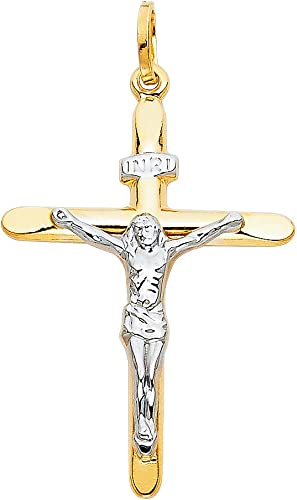 Million Charms 14k White Gold Religious Crucifix Stamp Charm Pendant 20mm x 20mm