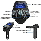 Bluetooth FM Transmitter, LeFun Wireless In-Car FM Modulator Car Kit Radio Adapter, Bluetooth Receiver with USB Car Charger, AUX Input, MP3 Player support TF Card and USB-stick