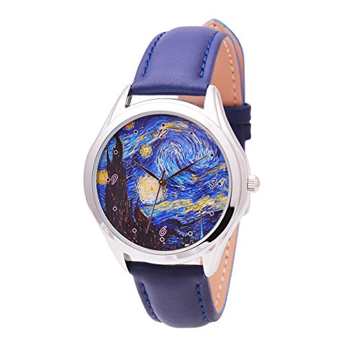 Art Watch - Van Gogh Starry Night (Dark Blue Band), Watches for Men and Women, Classical Wrist Watch