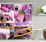 Ambesonne Home Decor Collection, Aromatic Spa with Lilac Petals Fresh Therapy Oils Bath Salt Soap Relax Theme Meditation Collage, Polyester Fabric Bathroom Shower Curtain Set with Hooks, Violet