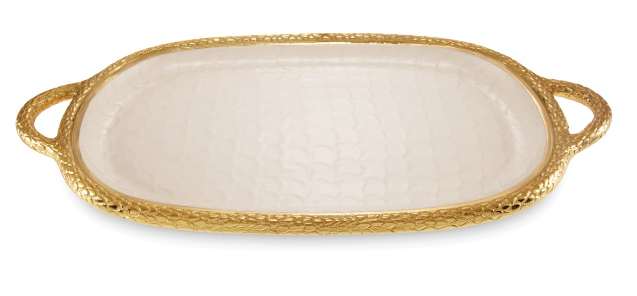 Julia Knight 7560315 Florentine Gold Handled Tray One Size Snow