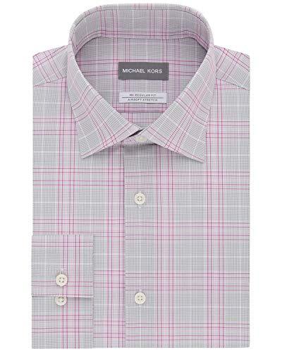 Michael Kors Regular Fit Non-Iron Airsoft Stretch Dress Shirt 17 32/33 Red Check