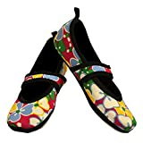 Nufoot Betsy Lou Women's Shoes, Best Foldable & Flexible Flats, Travel & Exercise Shoes, Dance Shoes, Yoga Socks, Indoor Shoes, Slippers, Pink Flowers, Medium