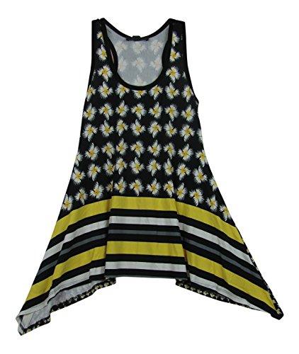 Karen Kane Women's Citrus Twist Hankerchief Hem Racerback Tank Top (X-Small, Print)