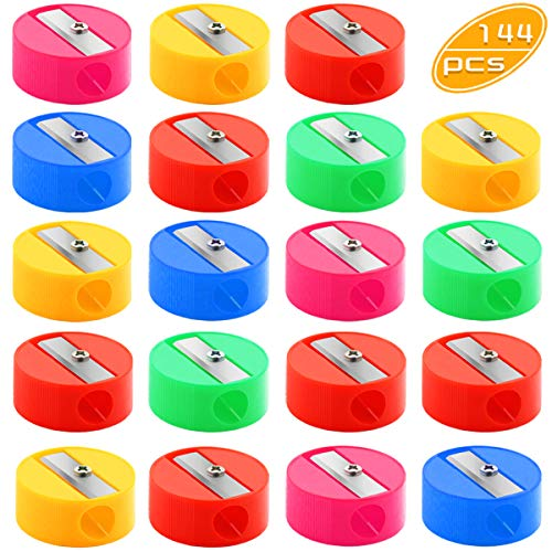 Yexpress 144 Pcs Bulk Round Pencil Sharpeners, Colorful Plastic Manual Sharpeners for Office School Supplies and Gifts (Multicolor)