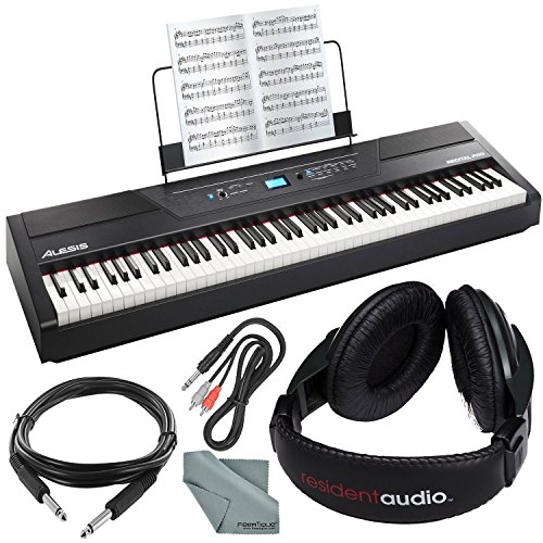 Alesis Recital Pro 88-Key Digital Piano W/Hammer-Action Keys Bundle with Headphones + Cables + Fibertique Cloth