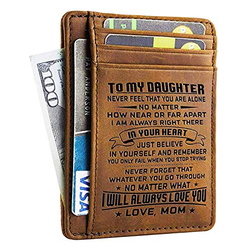 Mom Daughter Wallet - Engraved Leather Front Pocket Wallet (B - Daughter, mom will always love you)