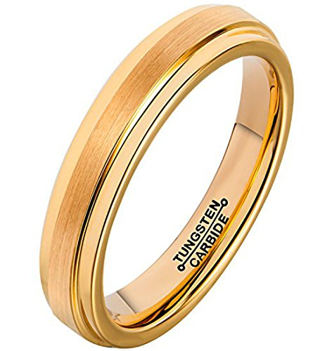 FCL Rings for Men 18K Gold Plated 4mm Tungsten Carbide Wedding Band Matte Brushed Polished Size - 18k Judith Ring Ripka