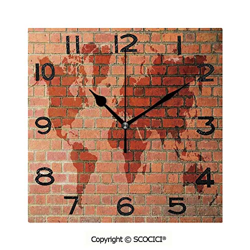 SCOCICI 8 Inch Square Face Silent Wall Clock Brick Wall with World Atlas Map Reflection Pattern Contemporary Artful Scene Unique Contemporary Home and Office Decor