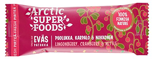 Arctic Superfoods Snack bar 30g Lingonberry, Cranberry & Nettle RETAIL PACK (set of 24pcs) 100% FINNISH NATURE Gluten/Dairy FREE, No added sugar by Artic Super Foods
