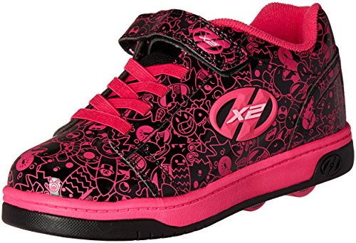 Heelys Girls' Dual up x2 Sneaker, Black/Hot Pink/Print, 3 M US Little Kid by Heelys