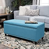 Christopher Knight Home 300316 Living Dynasty Fabric Storage Ottoman (Teal) D x 42.00″ W x 18.25″ H