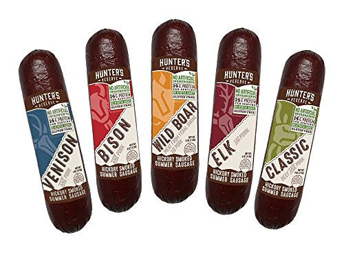 Meat Bison (Hunters Reserve, Taste of The Wild Summer Sausages, Hickory Smoked, 5 Wild Game Flavors - Variety Gift Pack)