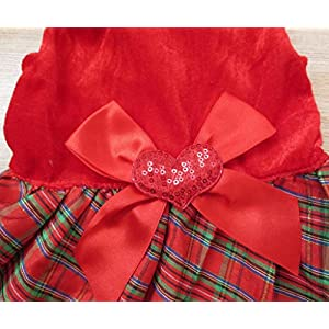 Tangpan Bow-knot Christmas Pet Costume Plaid Skirt Dog Clothes Santa Dress Size M