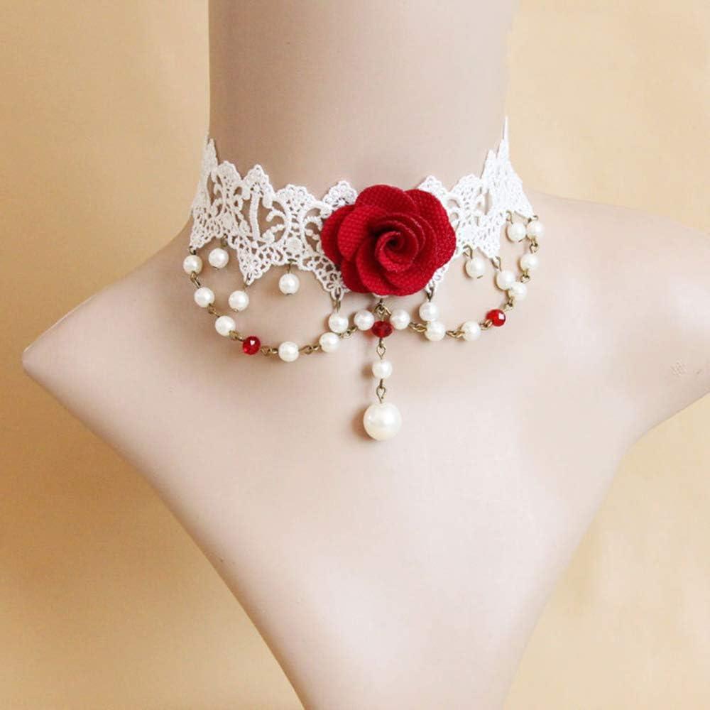 JASIN Collar De Encaje, Vestido De Novia con El Collar Corto Collar De Encaje Accesorios Flor De La Perla