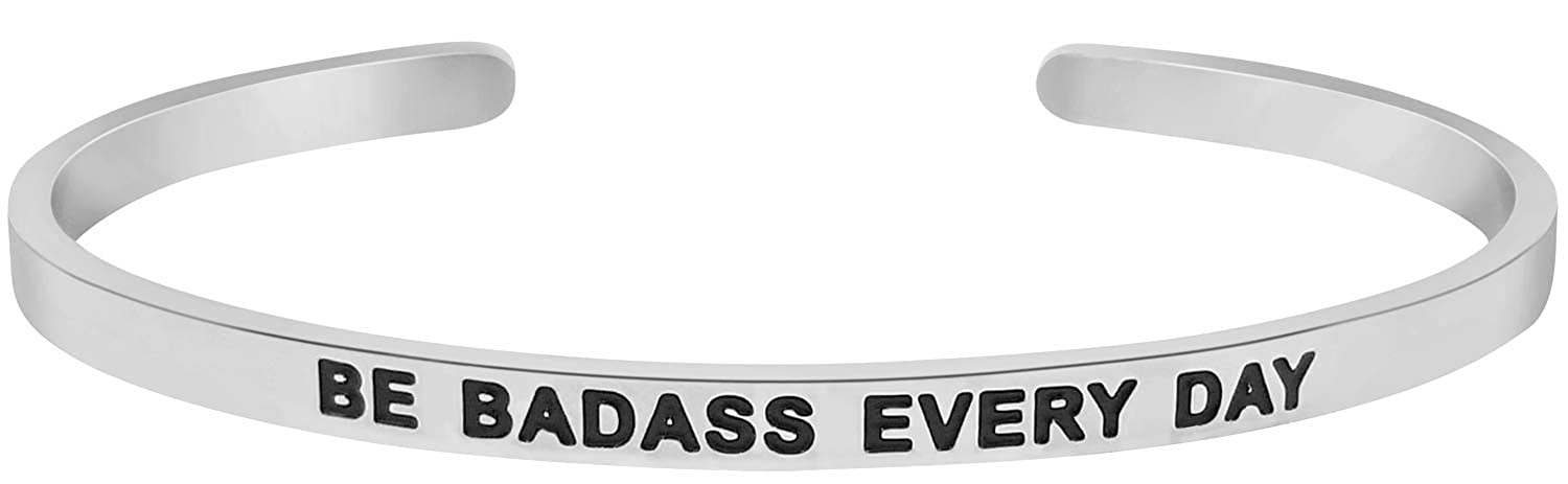 Be Badass Every Day Motivational Mantra Quote Cuff Bracelet Graduation Gift Birthday Jewelry Gifts for Women Teen Girls