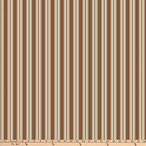 Verna Mosquera Autumn Grace Vintage Ticking Cinnamon Fabric by The Yard