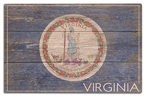 Lantern Press Rustic Virginia State Flag (10x15 Wood Wall Sign, Wall Decor Ready to Hang)