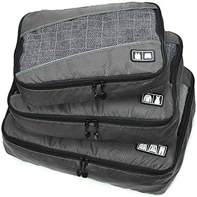 旅行用収納袋 3ピースパッキングキューブのセット旅行オーガナイザー荷物セット防水服収納袋旅行または家庭用荷物オーガナイザー ハンドロールアップ再利用可能な服 (色 : Black, Size : Free size)