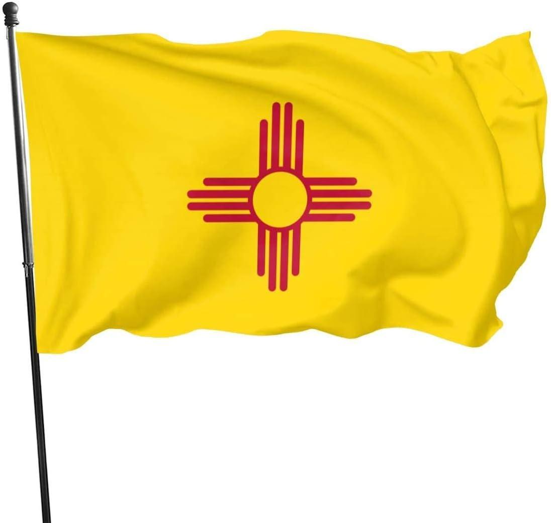 Oaqueen Drapeaux 3 X 5 Ft Outdoor New Mexico Flag Garden Flag Yard Flag