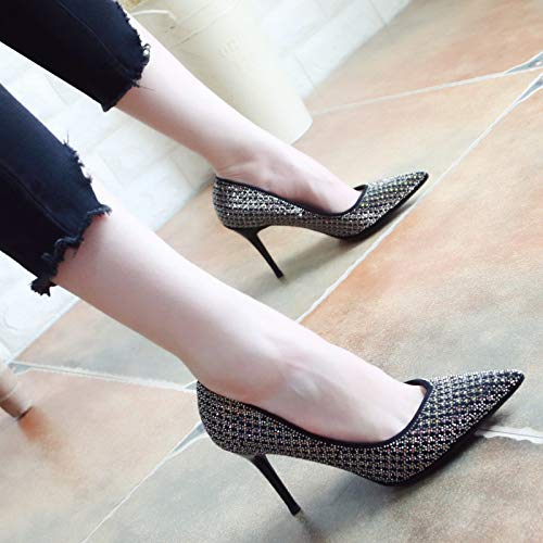 KPHY Shallow Drill Gules Bride'S The Heeled Shoes High Women Married 8Cm Shoes Autumn Thirty Pointed Seven Sharp Thin And Water Temperament 7wa6xq7Rr