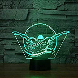 3D Swimming Night Light Table Desk Optical Illusion Lamps 7 Color Changing Lights LED Table Lamp Xmas Home Love Brithday Children Kids Decor Toy Gift