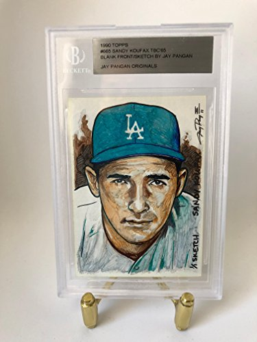 Jay Pangan III (jp3sketch) 1/1 0riginal Sketch Card of SANDY KOUFAX created from a blank front 1990 Topps #665 Turn back the clock card.