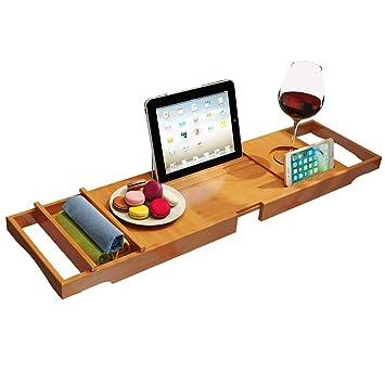 TGjY Soporte de bañera Extensible de Carrito de bañera de bambú con Soporte para Copa de Vino, Soporte para Libros y Tableta, Soporte de teléfono, etc.