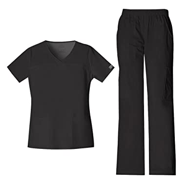 e661f1a6249 Cherokee Women's Workwear Core Stretch V-Neck Top 4727 & Mid Rise Pull On  Cargo