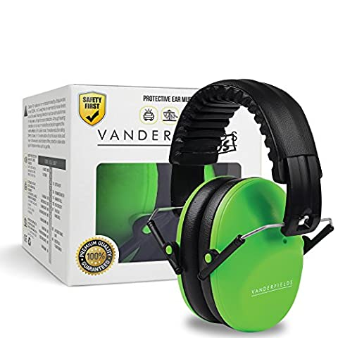 Vanderfields Earmuffs for Kids – Hearing Protection Muffs For Children Small Adults Women – Foldable Design Ear Defenders Protector with Adjustable Padded Headband for Optimal Noise Reduction - - 9 Junior Liquid