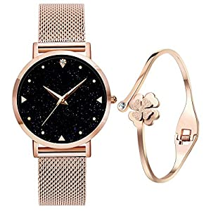 Ladies Watches with Bracelet, 3ATM Waterproof Analogue Quartz Watches with Rose Gold Stainless Steel Mesh Strap for…