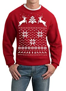 Skip N' Whistle Adult Ugly Christmas Sweater Reindeer In Snow Pullover Sweatshirt by SOHU Show