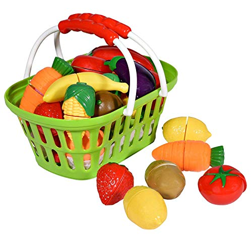 Playkidz: Super Durable Healthy Fruit and Vegetables Basket Pretend Play Kitchen Food Educational Playset with Toy Knife, Cutting board (32 Pieces of fruit and vegetable toys)