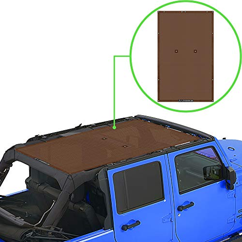 ALIEN SUNSHADE Jeep Wrangler JKU (2007-2018) Full Length Sun Shade Mesh Top Cover (Chocolate) – 10 Year Warranty - Blocks UV, Wind, Noise