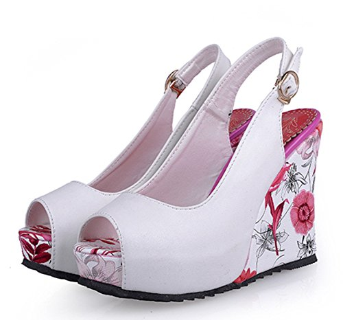 YE Damen Peep Toe High Heels Plateau Wedges Keilabsatz Slingback PU Leder Pumps mit Schnalle Sommer Blumen Sandalen Schuhe Weiß