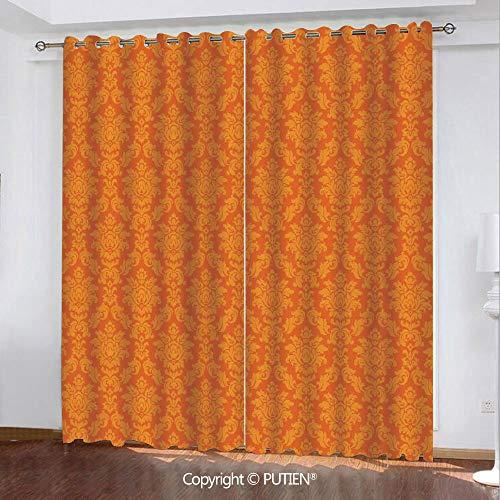 Satin Grommet Window Curtains Drapes [ Burnt Orange,Classic Baroque Venetian Random Patterns with Antique Decorative Floral Leaves Home Decorative,Orange ] Window Curtain for Living Room Bedroom Dorm