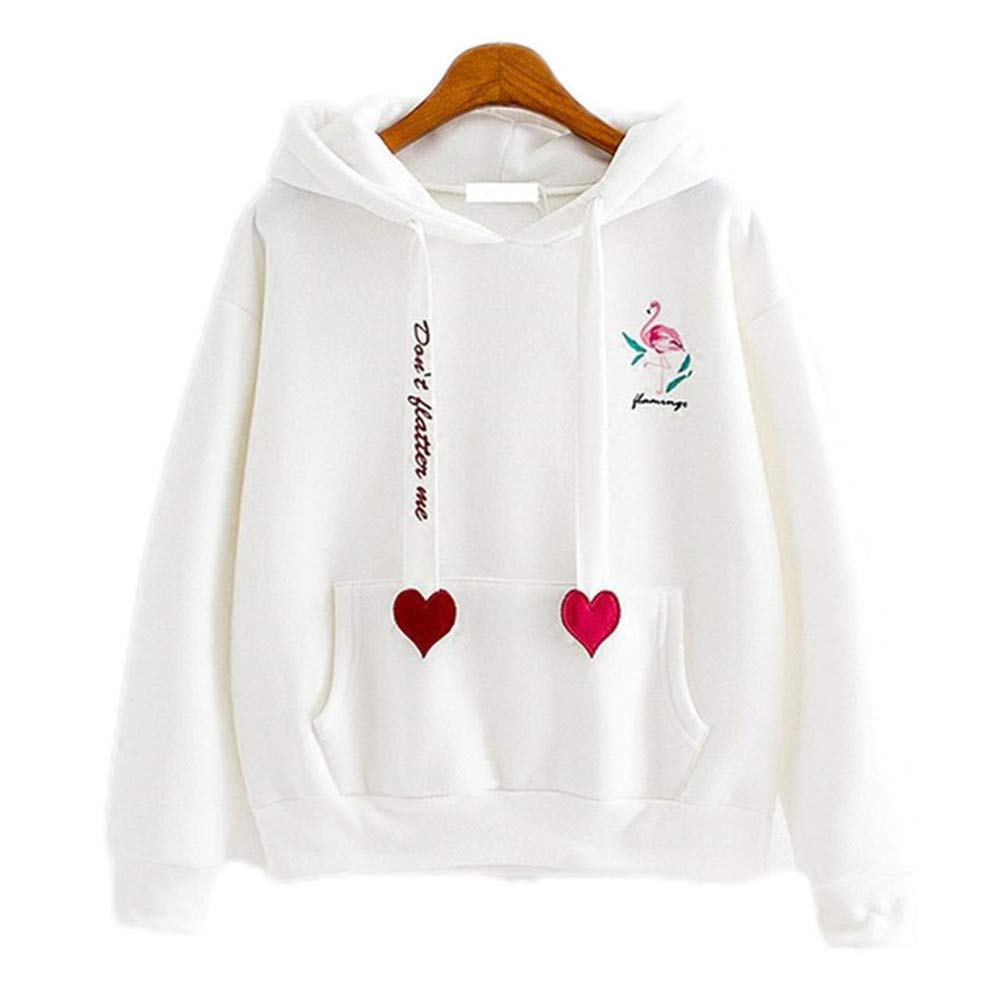 Amazon.com: Autumn Winter Sweatshirts Women Flamingo Embroidery Casual Fashion Hearts Hoodies: Clothing