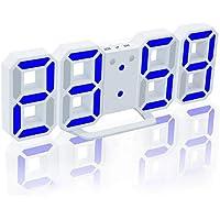 Walmeck 3D LED Digital Clock Glowing Night Mode Brightness Adjustable Electronic Table Clock 24/12 Hour Display Alarm…