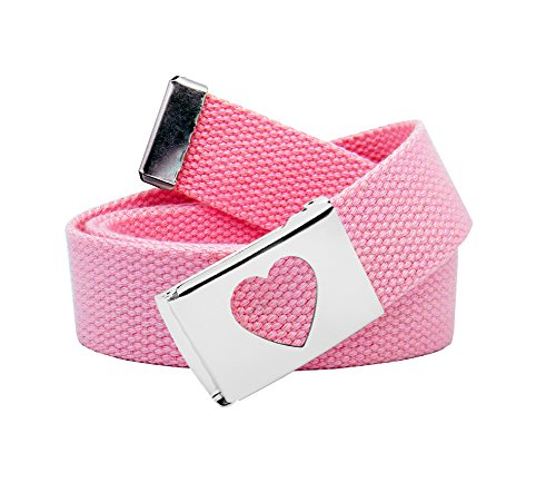 Girl's School Uniform Silver Flip Top Heart Belt Buckle with Canvas Web Belt Large Pastel Pink