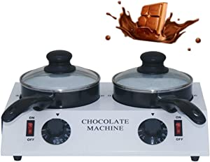 Electric Chocolate Melting Pot Furnace Stainless Steel Butter Chocolate Tempering Machine, 80W 30~85 ºC Cream Handmade Soap/Candle Heating Furnace, 4.4lbs Capacity Double Pot (110V)