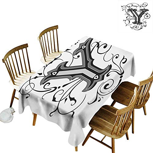 W Machine Sky Rectangular Tablecloth Letter Y Calligraphy Inspired Medieval Capital Letter Alphabet Symbol European Design W60 xL90 for Family Dinners,Parties,Everyday Use