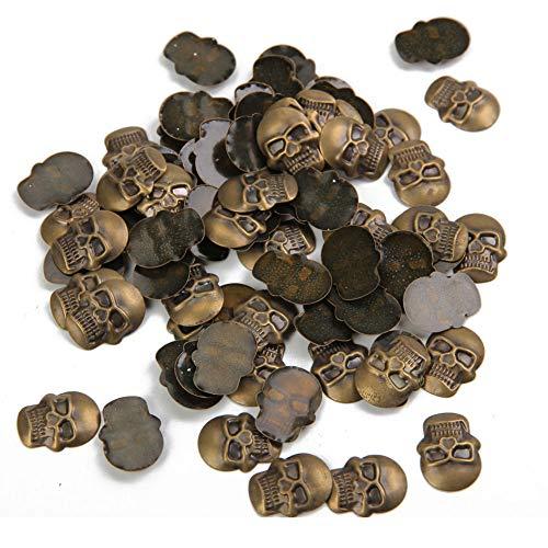 Beadsland Hotfix Skull Studs,12mmx16mm Flat Back Iron On Skull Flatback Glue 100pcs (Antic Bronze)