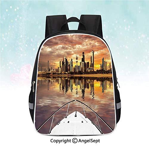 School Student Backpack,Kuwait City Skyline From Sailboat Majestic Sky Skyscrapers Arabia Landscape Decorative,13