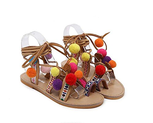 Colorful Cross Ball Dress Multicolor Zapatos Tassel Tamaño 34 Eu bomba mujeres Las Plush Clip Shoes Sandalias 40 Slingback Holiday Pisos Colormatch Strap de Sweet Toe Beach la qvv678
