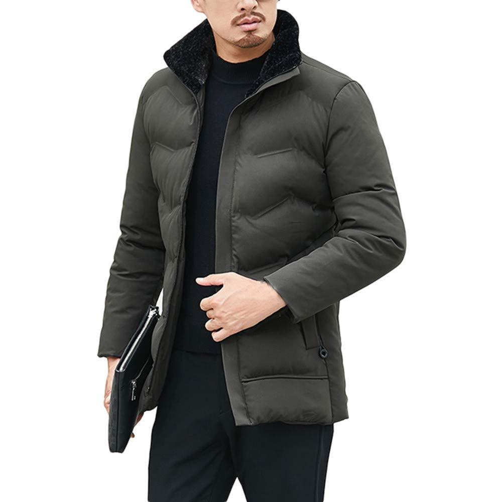 Mens Down Jacket,Lightweight Fux Collor Windpoof Down Coat Full Zip Outwear Parka Zulmaliu