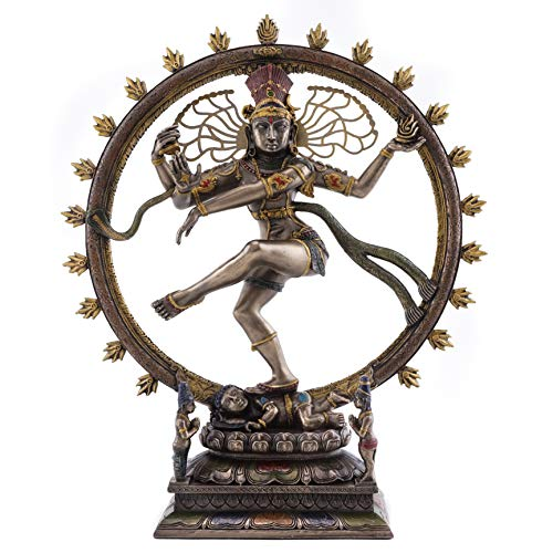 Top Collection Dancing Nataraja Shiva Statue- Divine Hindu Figurine that Destroys Evil, Ignorance, and Death in Premium Cold Cast Bronze- 10.5-Inch Collectible East Asian Meditating Sculpture (Shiva Dancing In A Ring Of Fire)