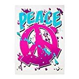 5' x 7' Area Rug Peace Symbol Sign Splatter Neon
