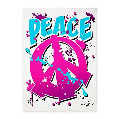5' x 7' Area Rug Peace Symbol Sign Splatter Neon by Royal Lion
