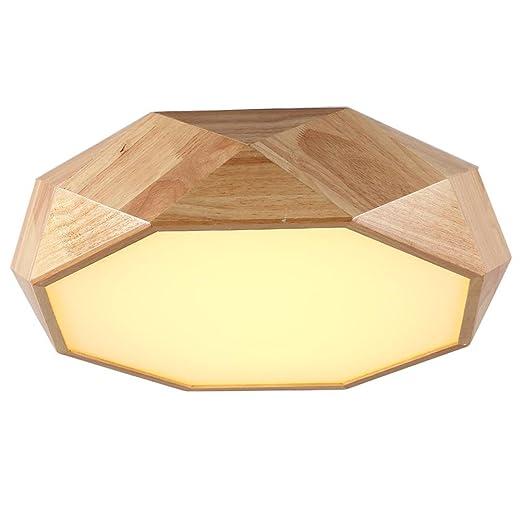 Amazon.com: dmmss luz de techo LED ángulo redondo madera de ...