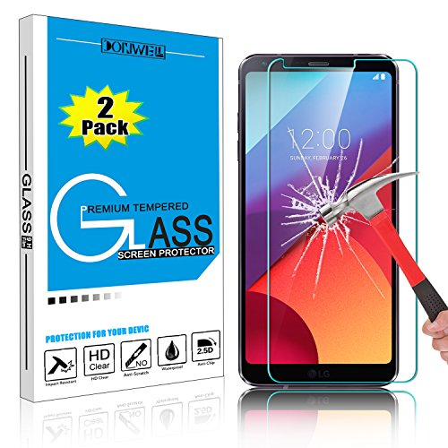 [ 2 Pack ] LG G6 Screen Protector, DONWELL Ultra Clear Anti-Fingerprint Anti-Scratch Bubble-Free Tempered Glass Screen Protector for LG 6/G6+/G6 Plus/H872/VS988
